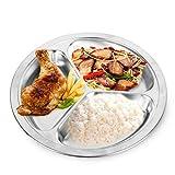 Clock Acero Inoxidable 3 Secciones Divided Dish Vajilla Plato De Cena Lunch Plate Cantina Suministros,24Cm