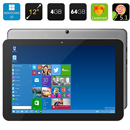 "tablet android 12 pollici Chuwi Hi12 12"" Windows 10& Android 5.1 Intel Trail-T3 Z8300 64bit Quad Core 4GB/64GB 11000mAh Tablet PC WiFi OTG HDMI"