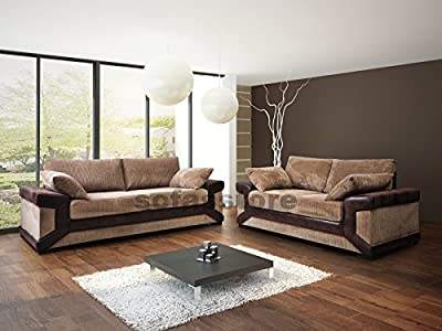 Dino Black 3 & 2 Seater Sofa - Formal Back - Like SCS But Cheaper - Black Or Brown