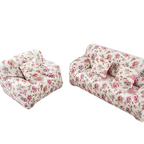 Beautylife66 Sofahussen Bunt 2-Sitzer Sofabezug Sesselbezug Klassisch Stretchhusse Pink Blumen-M