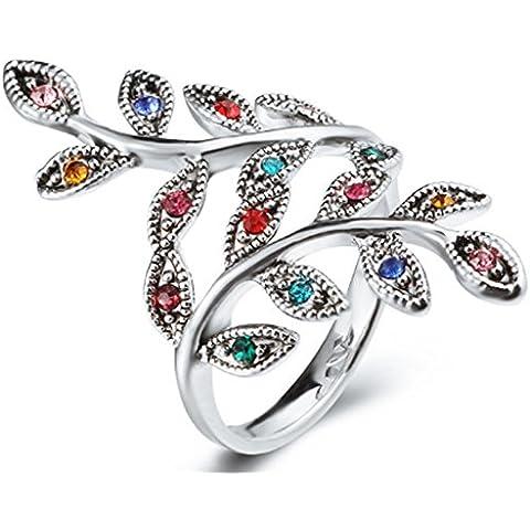 SaySure–Bañado en Plata Colorful Crystal Leaf Anillos tibaten, Mujer, Ring Size 9 RJ043 Color6