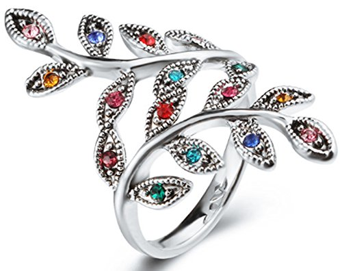 SaySure - Silver Plated Colorful Crystal Leaf Rings Tibaten (SIZE : 9) - 14k Yellow Gold Leaf