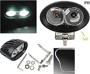 PR Bike Fog Lamp Light 20w 3200Lm Cree Led Projector LED Aux Lights 1pc White Light Motorycle Fog Light Bike Projector Auxillary Spot Beam Light with and For Honda Stunner CBF Self Disc Alloy