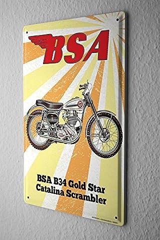 Plaque Émaillée Nostalgique BSA B34 Gold Star Catalina Scrambler Paroi Métallique Signes 20X30 cm