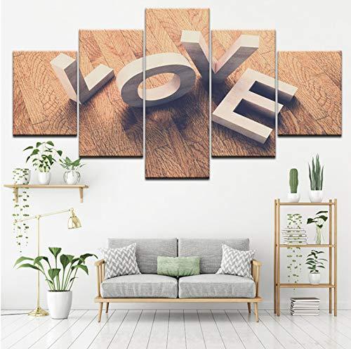 kultur Poster 5 Stücke Liebe Cube Wort Ansicht Gemälde Hd Druckt Wandkunst Brief Bilder Wohnzimmer-10X15/20/25Cm ()