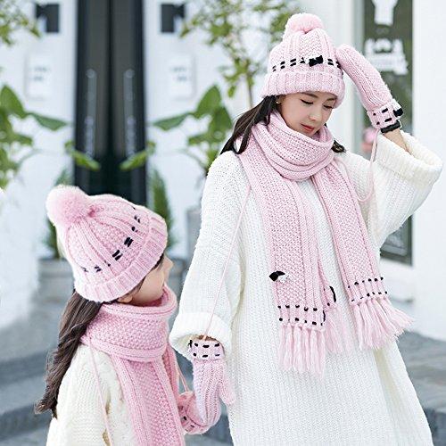 Schal Handschuhe Winter Eltern-Kind-Modelle Warm Halten Schön 3-teiliges Set 3 Farben, 2 Größe Kleidung Accessoires schöne Mädchen weich warm dic ( Farbe : Pink , größe : Children ) (Kid Fedora)