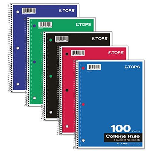 Tops 1-subject Notizbuch, Drahtkammbindung, College Rule, 21,6x 27,9cm, weiß, 100Blatt pro Buch, Bezug Farbe können abweichen (65161)