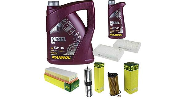 Filter Set Inspektionspaket 6 Liter Mannol Motoröl Diesel Tdi 5w 30 Api Sn Cf Mann Filter Luftfilter Innenraumfilter Ölfilter Kraftstofffilter Auto