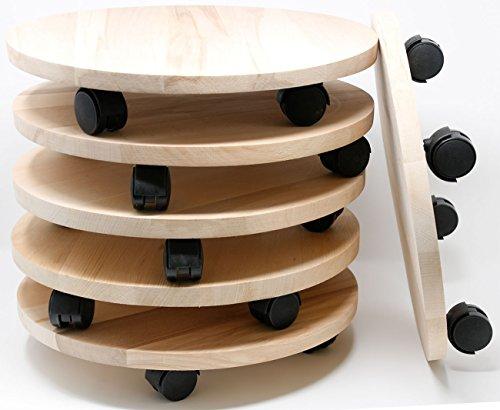 Mediablue Transportroller Pflanzenroller Holz Massiv Rund 350 mm bis 120 KG Pflanzen-Untersetzer mit Rollen (6)