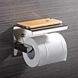 MoEvert Porta Carta Igienica Portarotolo Acciaio Inox 304 Con Porta Cellulare Con Adesivo Autoadesivo Senza Foratura per Il Bagno