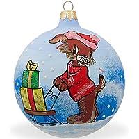 8,3cm Dog Delivering Christmas Gifts slitta della palla di vetro di Natale ornamento
