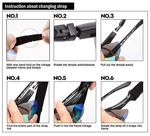 Duco Radsportbrille Outdoor Sonnenbrille für Sportler polarisierte 5 austauschbare Gläser UV400 SP0868 - 7
