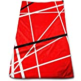 ewtretr Toallas De Mano,Red with Black White Stripes Cool Towel Beach Towel Instant Gym