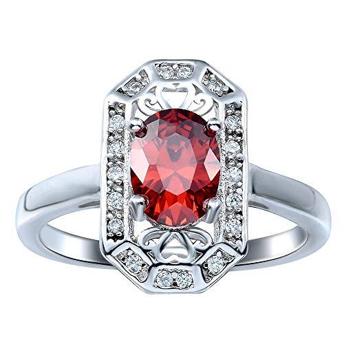 RQZQ Ring großes Rechteck Gesicht Modeschmuck Bijouterie Vintage Design Neue Engagement rot CZ Frauen Ring Verteilung