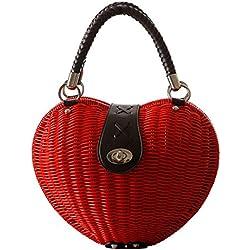 Tonwhar diseño de la forma de corazón bolso de paja Bolsa de ratán de verano playa bolso, color Multicolor, talla