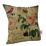 Nunubee Leinen Mix Sofa Vintage Blume Kissenbezug Quadrat Kopf Kissenbezug Art C