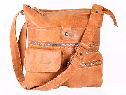 Bag Street Atlanta Sac à main avec bandoulière, plusieurs compartiments, Cognac