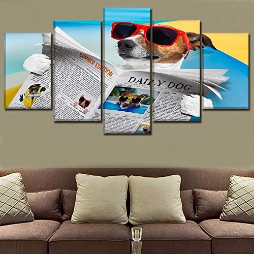 WXHHG 5 Leinwandbilder Rahmen Leinwandbild 5 Stücke Sehen Zeitung Sommer Sonnenbrille Poster Hd Drucken Wohnkultur Kinderzimmer Wandkunst Humor Hund Malerei