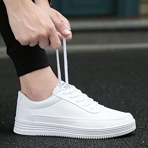 Hommes Casual Chaussures de sport pour hommes Unisexe Low-Top Sneakers Lace-up plats mocassins ( Color : Blanc-40 ) Blanc-38