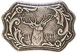 Fronhofer Trachten Gürtelschnalle Hirschkopf altsilber Buckle 45 mm, 4,5 cm, Silber Schnalle, 18324, Farbe:Silber, Größe:One Size