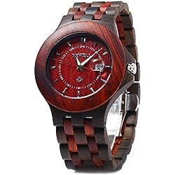 Leopard Shop Bewell Men Quartz Watch Date Luminous Waterproof Wooden Red Sandalwood