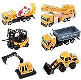 deAO Camion di Costruzione Veicoli Giocattolo per Bambini: Camion Elevatore, Camion Miscelatore, Camion Caricatore, Camion Ribaltabile, Bulldozer, Camion Gru (Set di 6)