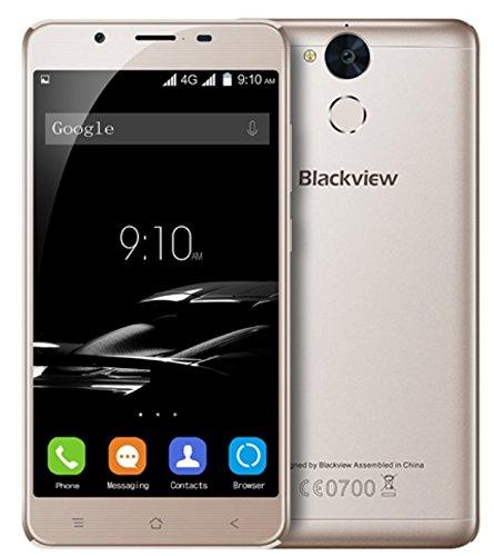 Blackview P2 - 5,5 pulgadas Android 6.0 4G smartphone 4 GB RAM 64 GB ROM Octa Core 1.5GHz 8.0MP + 13.0MP Cámaras Huella dactilar Batería de 6000mAh Cuerpo de metal - Oro