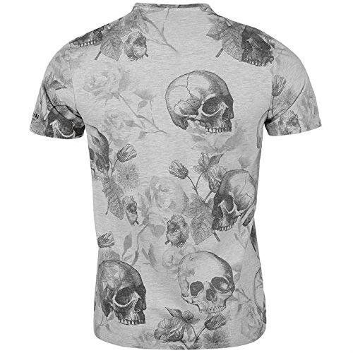 Firetrap Blackseal Herren Multi Skull T Shirt Leicht Rundhals Kurzarm Tee Top Ecru Marl