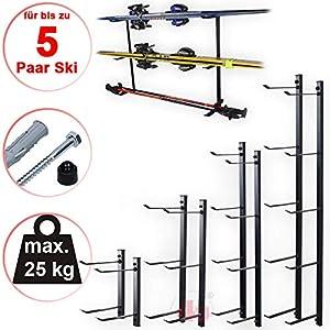 4U-Onlinehandel Skihalter Set Skiträger Skistöcke Ski Aufbewahrung Wandhalter Halter für 1-5 Paar Gerätehalter Wandmontage Skiaufbewahrung