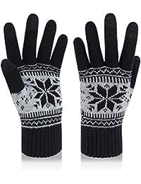 VENI MASEE Winter Touchscreen Handschuhe Schnee Blume Druck halten warm für Frauen und Männer