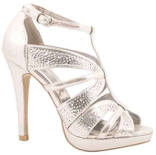 Elara Damen Sandaletten | Bequeme Plateau High Heels | Peeptoe Stiletto Größe 38, Farbe Silber