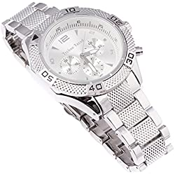 Techno Trend Men's Silver Plated Click Rotate Bezel Japanese Quartz Movement Hip Hop Bling Chunky Watch