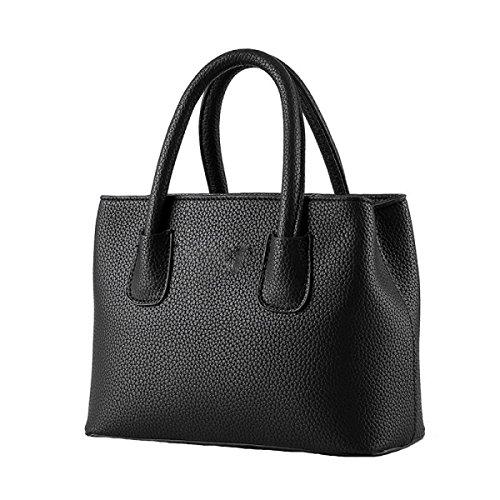 Weibliche Tasche Wilde Einfache Litchi Muster Kleine Frische Damen Handtasche Messenger Bag Black