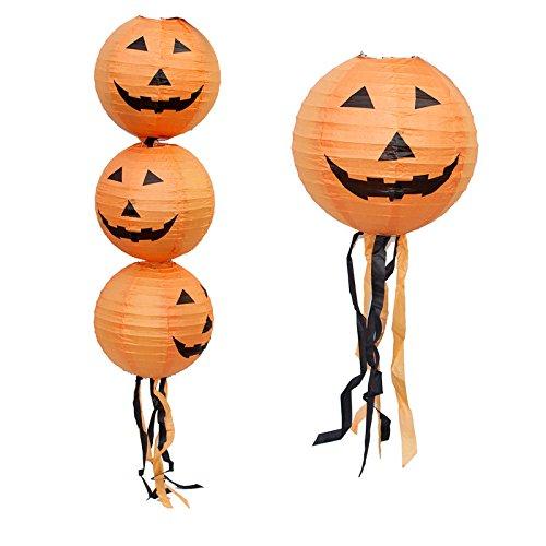 Jack O' Laterne, Halloween, Kürbis-Dekoration, zum Aufhängen, für draußen, draußen, Terrasse, Party, Garten, Veranda, Dekoration, Orange, 5 Stück (Halloween Ballons Uk)