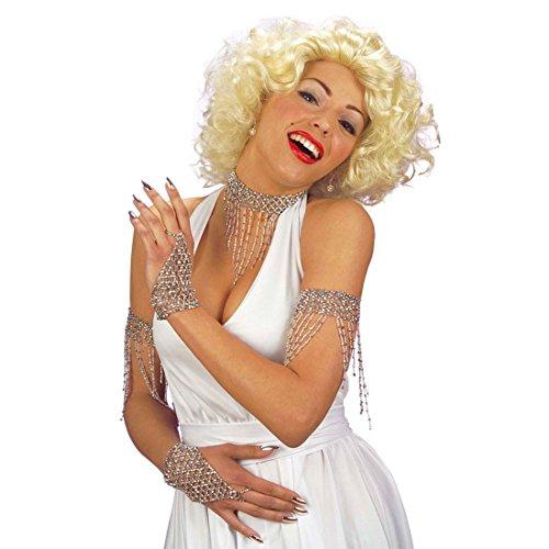 Jahre Showgirl 20er Kostüm (Perlen Armband silber 20er Jahre Armreif Charleston Armkette Silber Armreifen Showgirl Armschmuck)