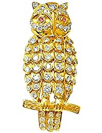 Surat Diamonds 18KT Yellow Gold And Diamond Brooches For Women