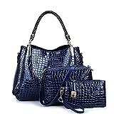 GWQGZ Nueva Madre De Dama Moda Bolsa Bolsa De Cuello Blanco Repujado Solo Hombro Bolsa De Paquete De Tres Piezas Azul