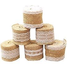 qici 6paquetes Natural Craft rollo de cinta de arpillera con encaje para Manualidades DIY hecho a mano de encaje blanco boda decoración lino, 78.7pulgadas cada