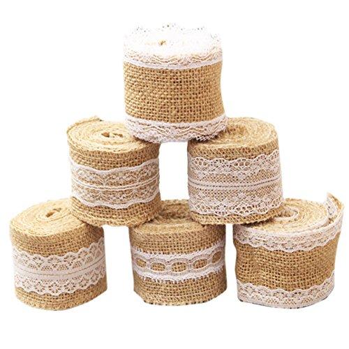 Lote de 6 rollos de cinta de arpillera natural con encaje blanco de QICI para manualidades hechos a mano, decoración de boda, lino de encaje, longitud de aprox. 200 cm cada uno