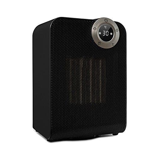 Klarstein Cozy Cube • Heizlüfter • Keramikheizgerät • Elektroheizung • 2 Heizstufen • 900/1800 Watt • Timer • Schwenkfunktion • Touch-Bedienung • Gradgenauer Thermostat • Kompakt • schwarz