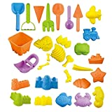 Shinehalo giocattoli per sabbia e spiaggia per bambini, 30 pezzi, pale da scavare, fossili di dinosauro, rastrelli, veicoli, creature marine, forme di castello, per pulire e conservare facilmente