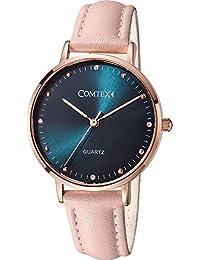 Comtex Relojes Mujer Rosa Piel Correa Oro Rosa Caja Azul Dial Cuarzo Analógico Diamante Resistente al