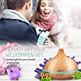 Homasy 150ml Mini Aroma Diffuser with Essential Oil Gift Set, Lavender and Peppermint (2ml/Bottle) for Aromatherapy, Ultrasonic Wood Grain Cool Mist Humidifier for Home Room Study Yoga Spa, Yellow