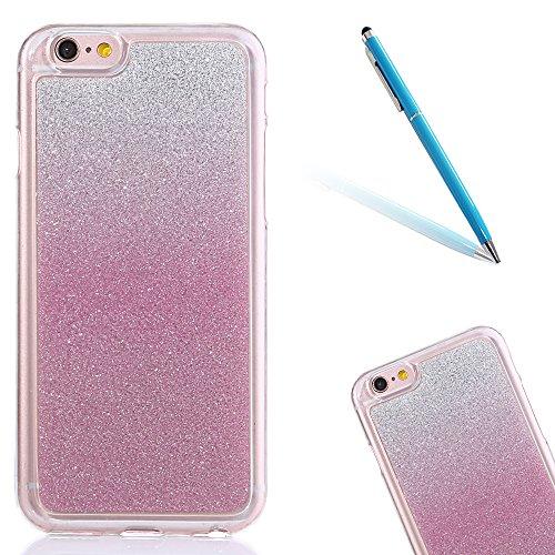 """iPhone 5s Handyhülle, Bling Glitzer Funkeln CLTPY iPhone SE Durchsichtig Dünne Matte Gel Cover Schlanke Hybrid Stoßdämpfende & Kratzfeste Gummi Case mit Kippständer für 4.0"""" Apple iPhone 5/5s/SE + 1 x Pink"""