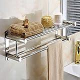 tourwin Acero Inoxidable toallero de doble capa montado en la pared Baño Estante de almacenamiento Rack ropa soporte