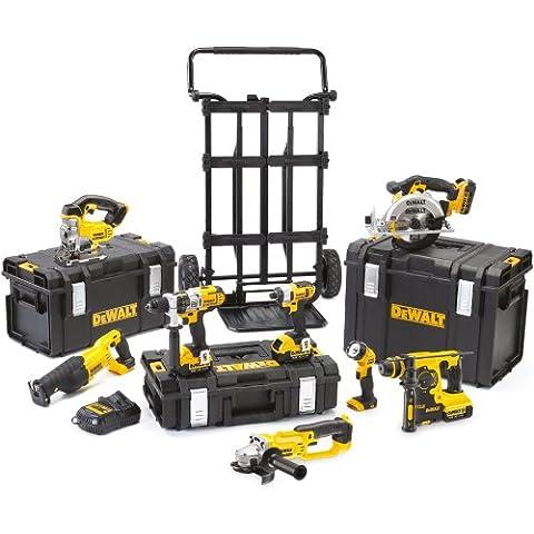 DeWalt DCK891M4 - Juego de herramientas inalámbricas con batería, 18 V, 4 Ah, 8 piezas, taladro, destornillador, martillo perforador, amoladora, sierra de calar, sierra, sierra circular y