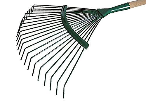 Laubrechen 22 Zinken Metal Laubharke Rechen Rasenrechen Harke 44 cm mit Stiel