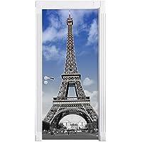 Torre Eiffel con il cielo blu di Parigi nero / bianco murale, Formato: 200x90cm, telaio della porta, adesivi porta, porta decorazione, autoadesivi del portello