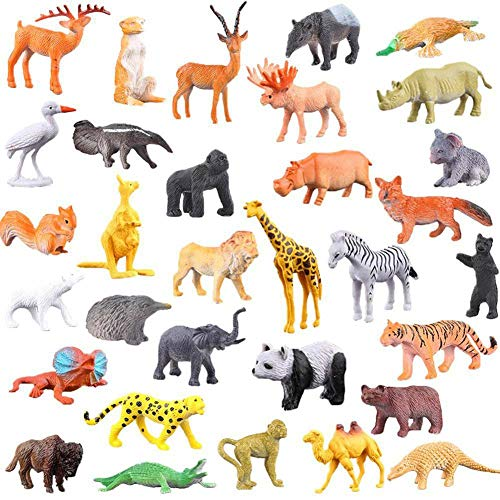 TRULIL Game of 53 Wild Animal Figures of the Jungle, Animal Toys, Learning Toys Educational, ecological and non-toxic, Toys for boys and girls