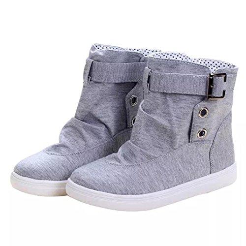 Tefamore Shoes Dish Towel, Femmes Low Heel Strap Boucle Chaud D'hiver Cheville Chaussures Gris